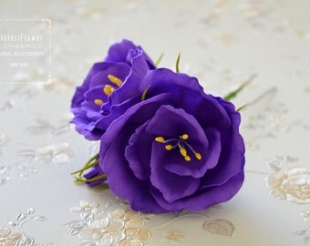 Ultra Violet Wedding Hair pin Violet wedding Eustoma Flower for Wedding Purple Hair pin Bohemian wedding hair accessories Rustic hairpin