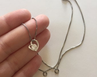 Gorgeous Vintage 925 Sterling Silver and Cubic Zirconia Heart Shaped Pendant Necklace