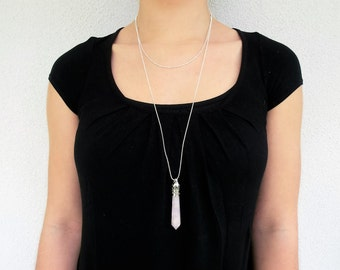 Double chain & Quartz Long necklace - Set of sterling silver long necklace and necklace with gemstone