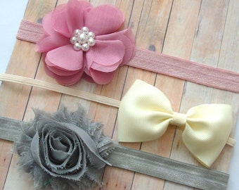 Shabby chic baby headband set of 3 headbands, newborn headband, infant headbands, baby hair bow, baby shower gift, vintage baby headband set