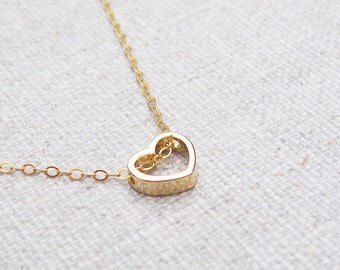 Gold heart necklace on a delicate gold filled chain, dainty everyday minimalist jewelry, tiny gold heart pendant, love jewelry, gift for her