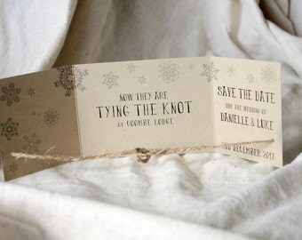 Winter Save the Date, Tying the Knot save the date, Knot Invitation, Winter Wedding, Snowflake Save the Date, Save the Date Winter set of 25