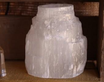 Selenite Crystal Mountain Top Tea Light Candle Holder