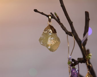 Natural Rough Citrine Gold Electroplated Crystal Pendant