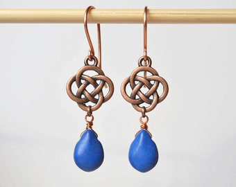 Gift under 10 dollar Blue drop Earrings copper earrings for her blue dangle earrings celtic knot Earring blue Boho Earring Bohemian Earring