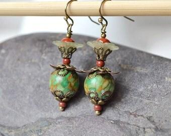 Gift for grandmother Green beaded Earrings Lucite flower earrings green dangle earrings green stone earrings Boho Earrings Bohemian Earrings