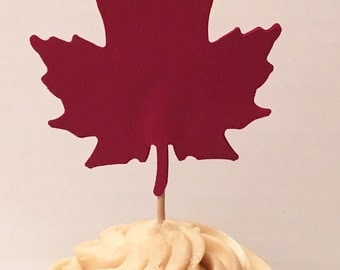 12 Maple Leaf Cupcake Thanksgiving Cupcake Toppers Fall Cupcake Toppers Birthday Cupcake Toppers Wedding Cupcake Toppers Autumn Party Picks