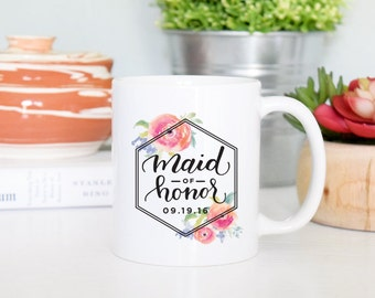 Maid Of Honor Mug, Maid of Honor GIft, Maid Of Honor Mug Gift, Bridal Party Gift, Bridal Party Mugs, Wedding Party Gifts, Rose Gold Rebel
