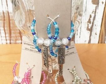 Friend/Travel Themed Beautiful Glass Bead Wine Charms- set of 4