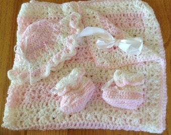 Crochet Baby Blanket Set- Girl