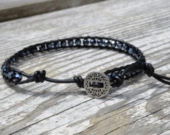 Leather Bracelet w/ smoky irridescent beads