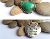 Jewelry, necklaces, pendants, hand stamped jewelry, real stone necklace, gemstone necklace, gift for her, green talisman, good luck charm