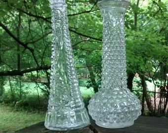 Vintage clear glass vases hobnail vase and clear cut crystal stars and bars vase clear wedding vases shabby chic