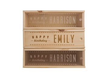 Wooden Wine Box (single) - Personalised happy birthday