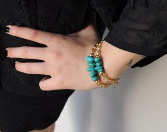Double strand bracelet. Turquoise Bracelet. Double chain bracelet. Made in Italy
