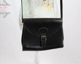 Vintage Black Cross Body Buckle Bag