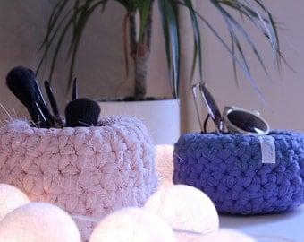 Handmade crochet basket, storage basket, make up brush holder,