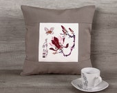 Asian decorative pillow cover, japanese style cross-stitch magnolias 14 x 14 (36 x 36 cm), modern oriental cushion wedding gifts for couple