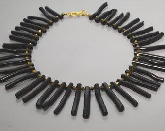 Black Coral Gold Necklace -Bib Necklace -Black and Gold Necklace -Coral and Crystal Necklace -Handmade -Gift For Her -UK Shop -Natural