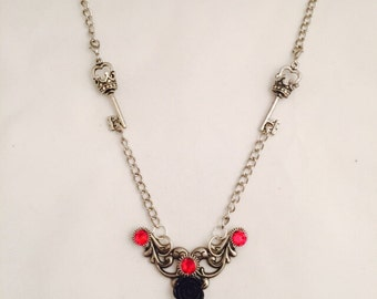 Gifts For Mom Steampunk Victorian  Key Necklace  Red Swarovski Crystals Black Rose Pendant  Crown Keys Red Swarovski Crystals Jewelry