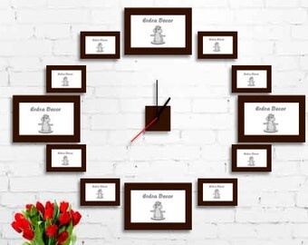 Modern clock, Set Photo Frames, Gift Ideas Picture Frames, Wooden Photo Frames, Wedding Gifts, Birthday Gifts, Custom Frames