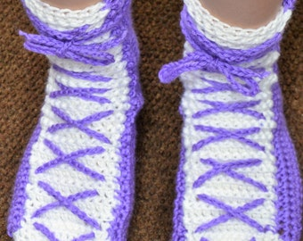 Purple & White Crocheted Lace Up Bed Socks/Slippers
