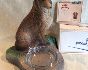 Vintage 1940 chalkware Collie dog figurine ashtray bowl dish
