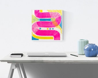 Abstract Acrylic Painting on Canvas - Sprinkler - Colorful Original Contemporary Artwork - 30x30cm - Pink, Yellow, Cobalt Blue