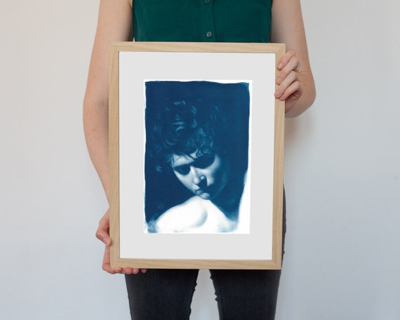 Caravaggio Painting Portrait, Detail, Cyanotype Print on Watercolor Paper, A4 size
