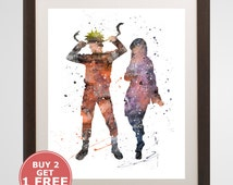 Naruto and Hinata watercolor, home arts, decor, cartoon kids children Illustration, Gift, Anime YC166