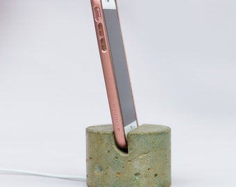 Concrete Phone or Tablet Docking Stand with cord management