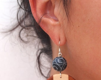 Handmade wooden earrings with etched, jade bead