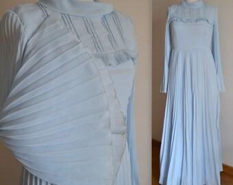 Bohemian wedding dress unique bridal gown blue wedding gown long sleeve wedding gown long evening dress maxi dress blue size US 8 Vintage