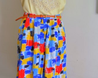 Midi Skirt with Pockets size 10 Pleated cotton Summer Skirt Full Skirt painter palette multicolored vintage 1980s Size M Medium