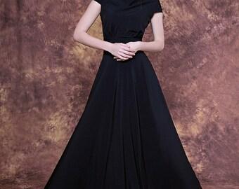 Long black dress with cap sleeve/ Black bridesmaid dress/ Black formal dress/ Black evening dress/ Black party dress/ Anniversary dresses