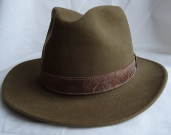 Authentic Chapeaux Motsch Pour Hermes Mens Fedora Hat with leather band