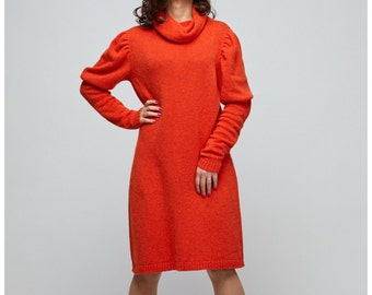 """Red and Bright, emotional and crazy knit dress, knitted dress, angora dress, retro dress with puffed sleeves and neckband """"Girl scandal"""""""