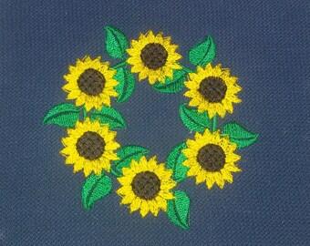 Machine embroidery sunflower sunflowers wreath