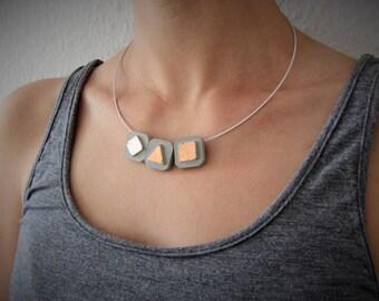 filigree concrete steel wire necklace