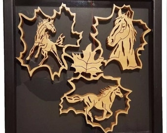 Wooden Leaves and Horses