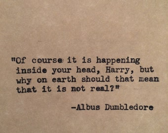 Harry Potter Dumbledore Typewriter Quote
