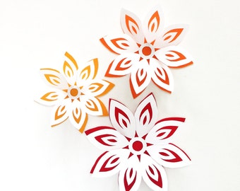 Paper Flowers, Papercut Flowers, Party Decorations, Gift Toppers, Home Decor, Paper Art
