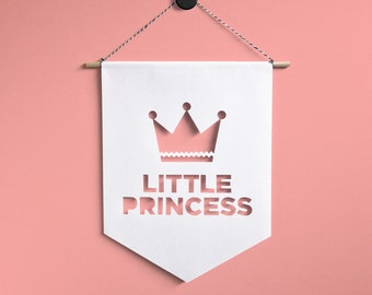 Little Princess Wall Hanging Banner, Girl room decoration, Nursery Flags, Baby room decoration