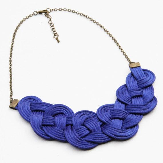 cobalt blue knot satin rope necklace statement necklace