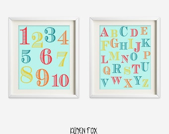 Number letters wall art - numbers nursery art - kids wall art - Nursery Decor - abc nursery art - red aqua blue number art