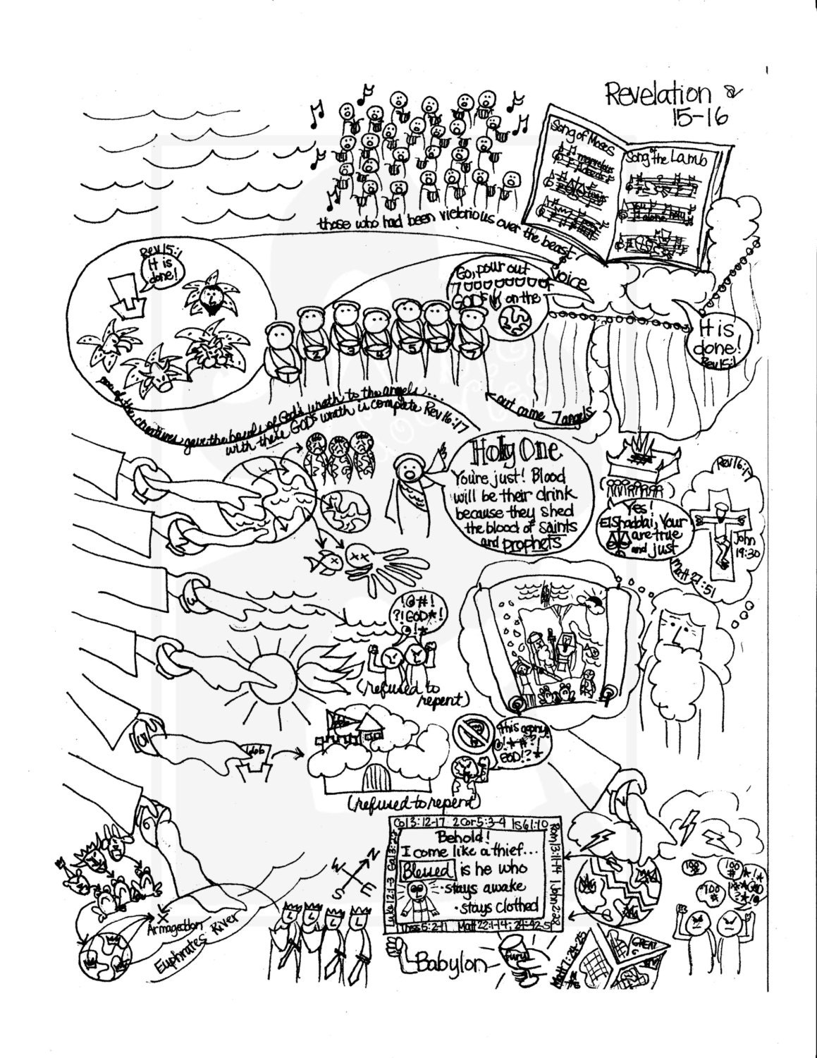 Majoras wrath coloring pages ~ Bible Doodle Study Guide for Revelation 15-16 The 7 Angels