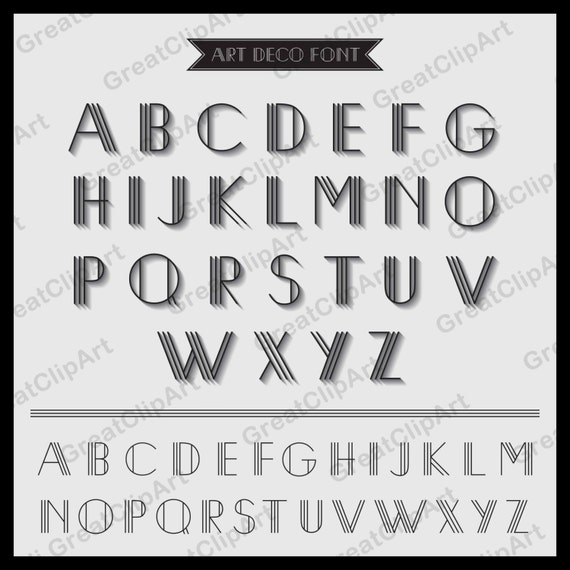 52 Art Deco Font Retro Alphabet on great gatsby font