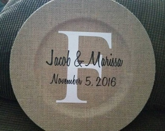 Burlap Charger Plate with Monogram Vinyl Decal
