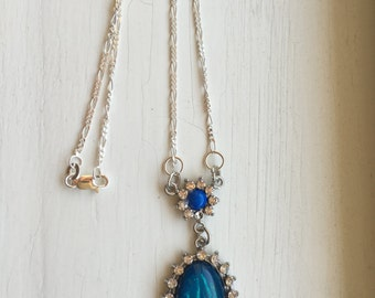 Lovely Blue and Rhinestone Necklace