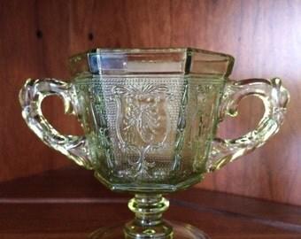 Imperial Glass Green Zodiac Sugar Bowl